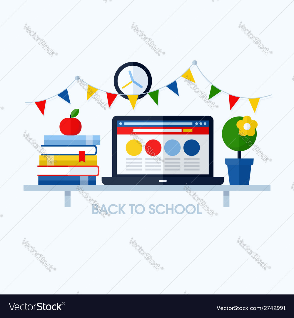 Back to school flat with desk and school supplies vector | Price: 1 Credit (USD $1)