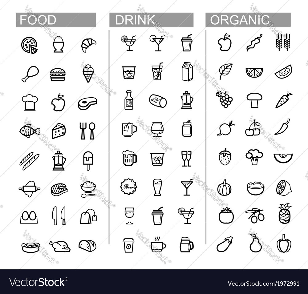 Black beverage food kitchen icons set vector | Price: 1 Credit (USD $1)