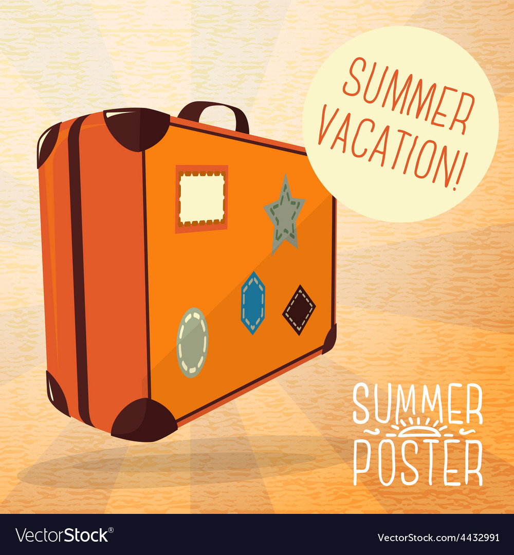 Cute summer poster - journey suitcase with labels vector | Price: 3 Credit (USD $3)