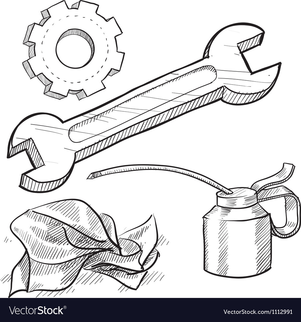 Doodle mechanic wrench oil rag gear vector | Price: 1 Credit (USD $1)
