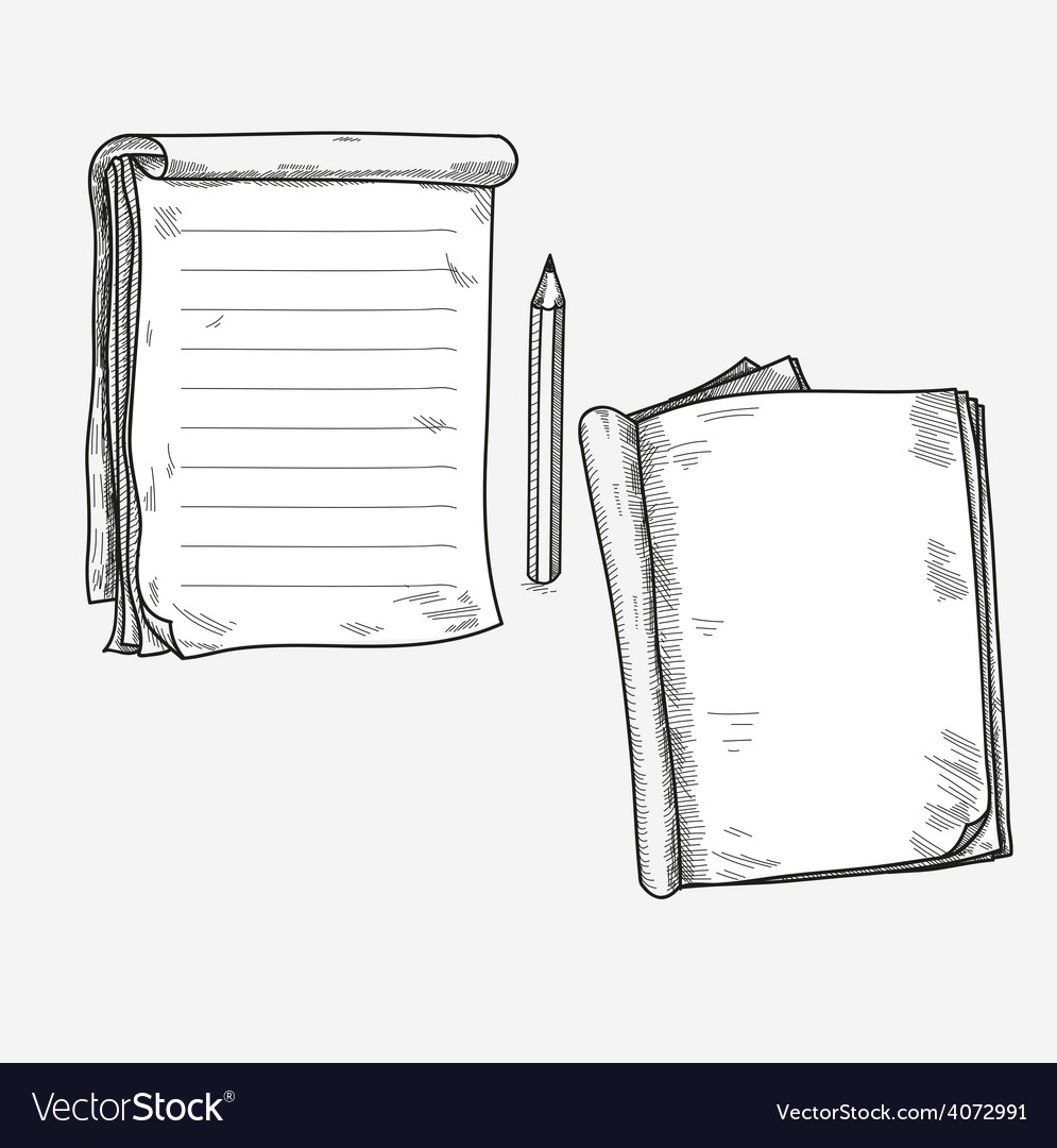 Hand drawn doodle sketch open notebook clear page vector | Price: 1 Credit (USD $1)