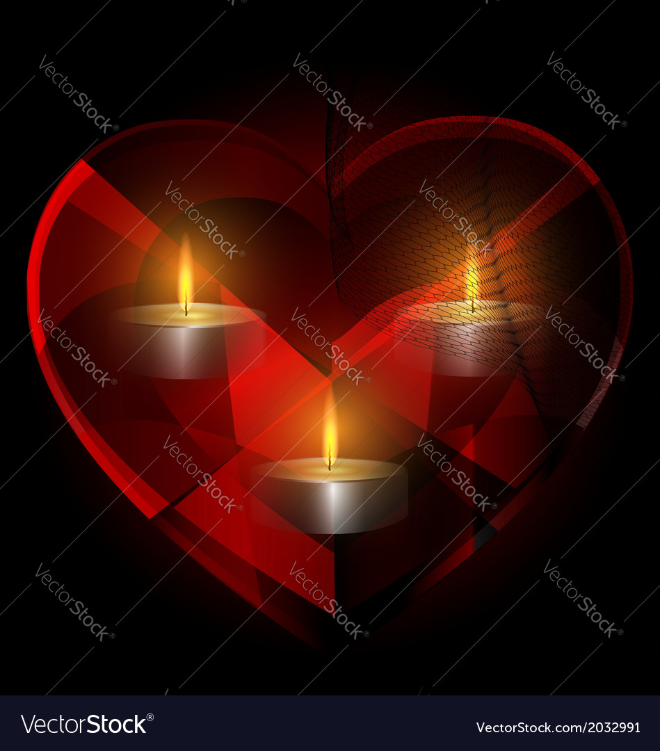 Heart-crystal and candles vector | Price: 1 Credit (USD $1)