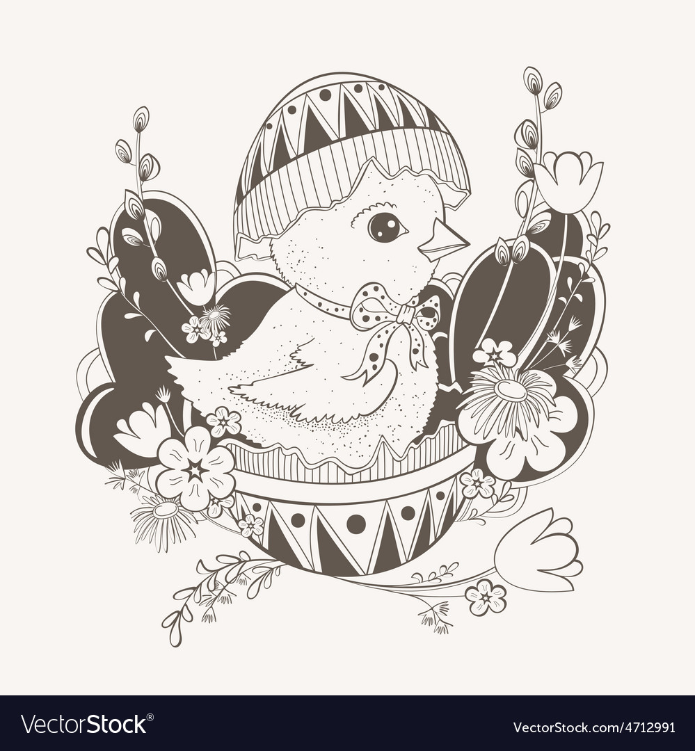 Little chicken in easter egg shell vector