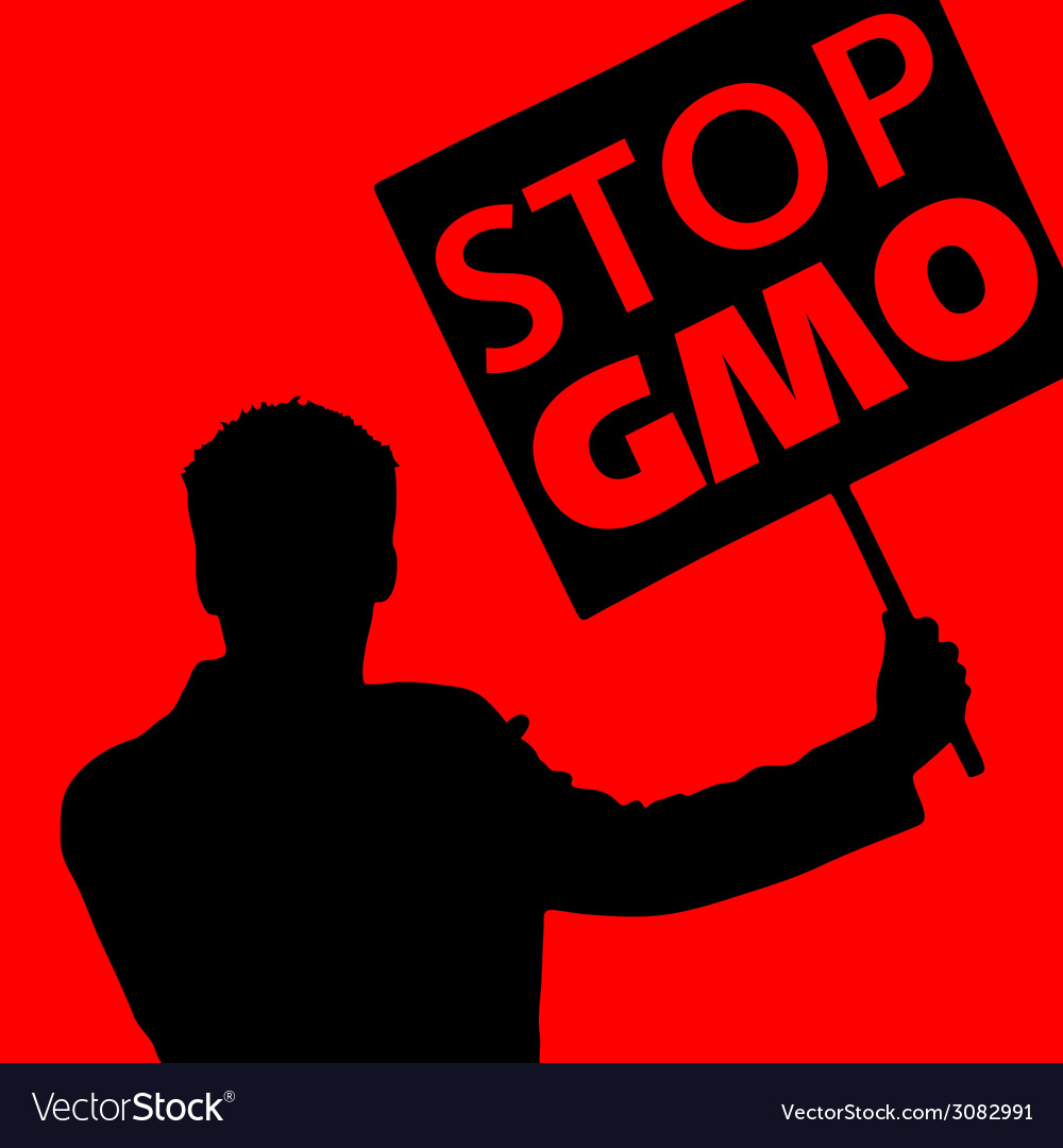 Man with the slogan stop gmo vector | Price: 1 Credit (USD $1)