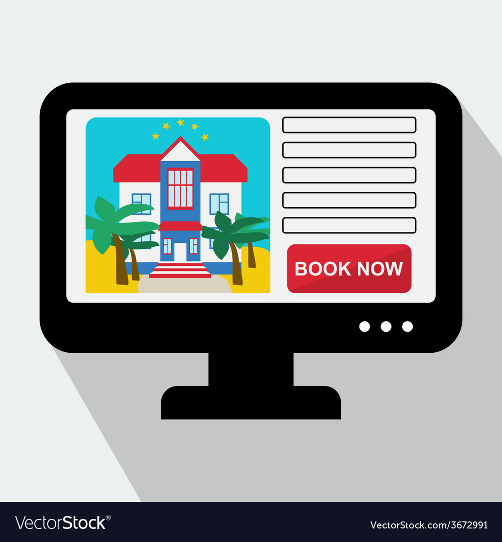 Monitor with hotel website book now in fla vector | Price: 1 Credit (USD $1)