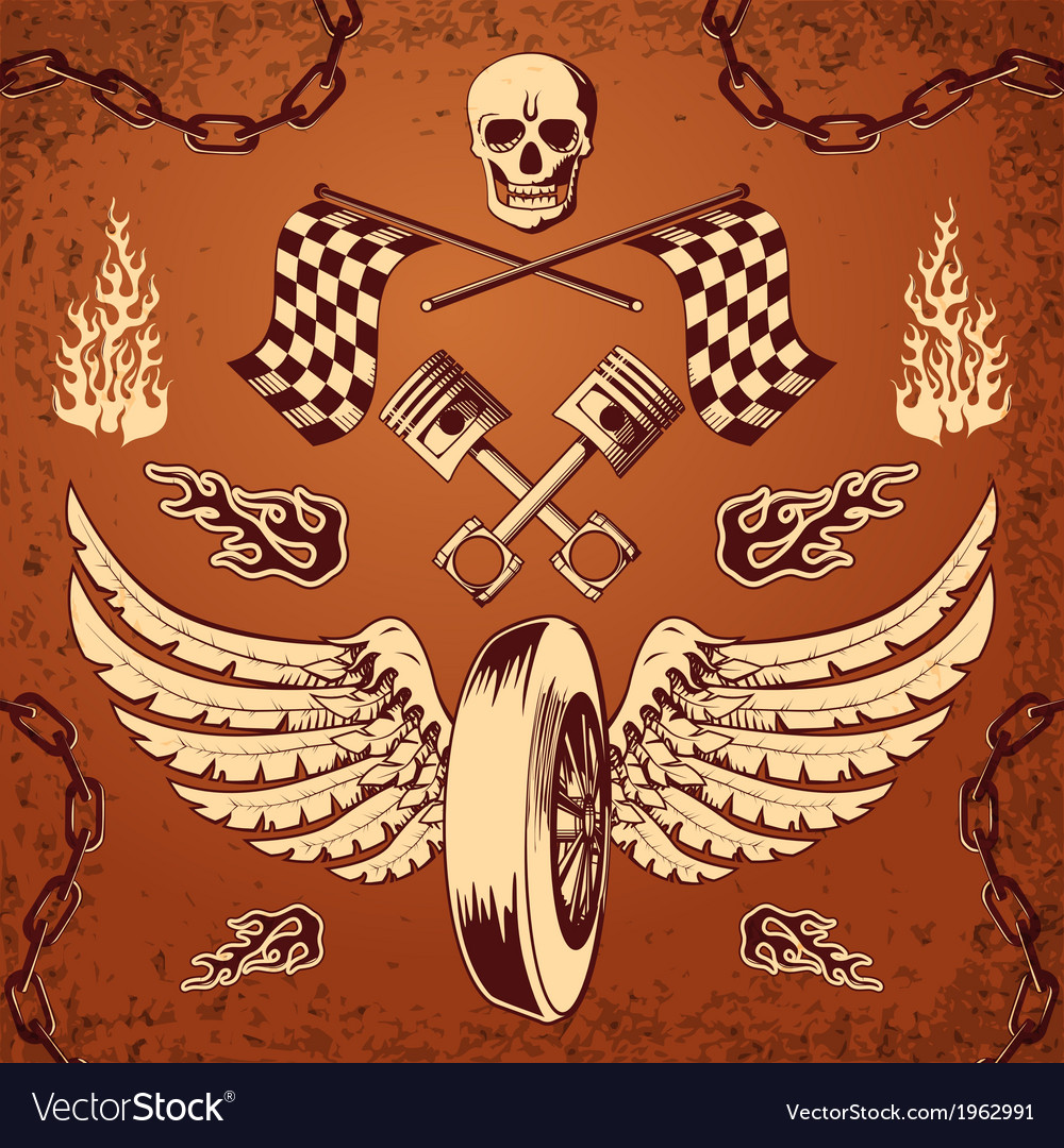 Motorcycle bike vintage design elements vector | Price: 1 Credit (USD $1)