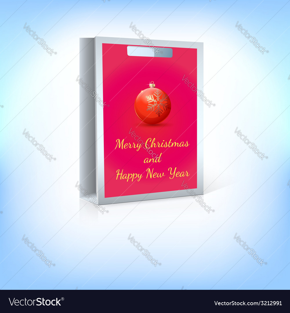 Paper bag red christmas ball with greeting vector | Price: 1 Credit (USD $1)