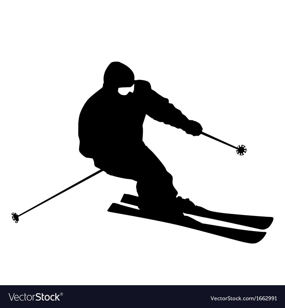 Skier speeding down slope sport silhouette vector | Price: 1 Credit (USD $1)
