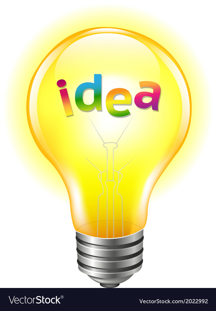 Bulb with text idea vector | Price: 1 Credit (USD $1)