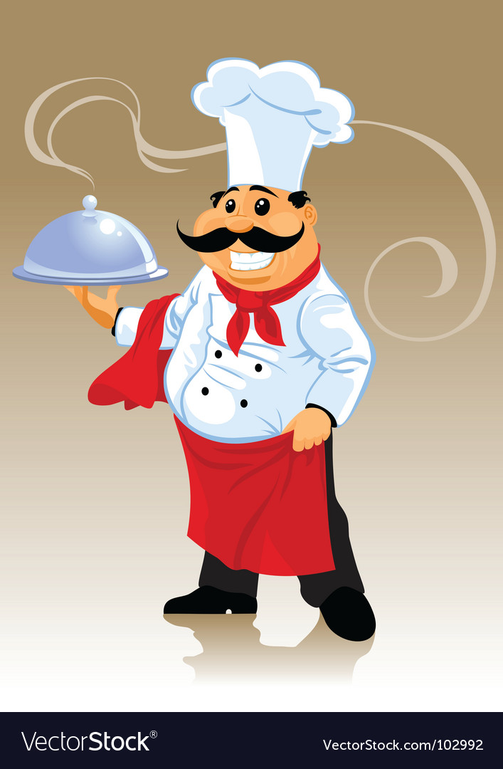 Chef cook and plate vector | Price: 1 Credit (USD $1)