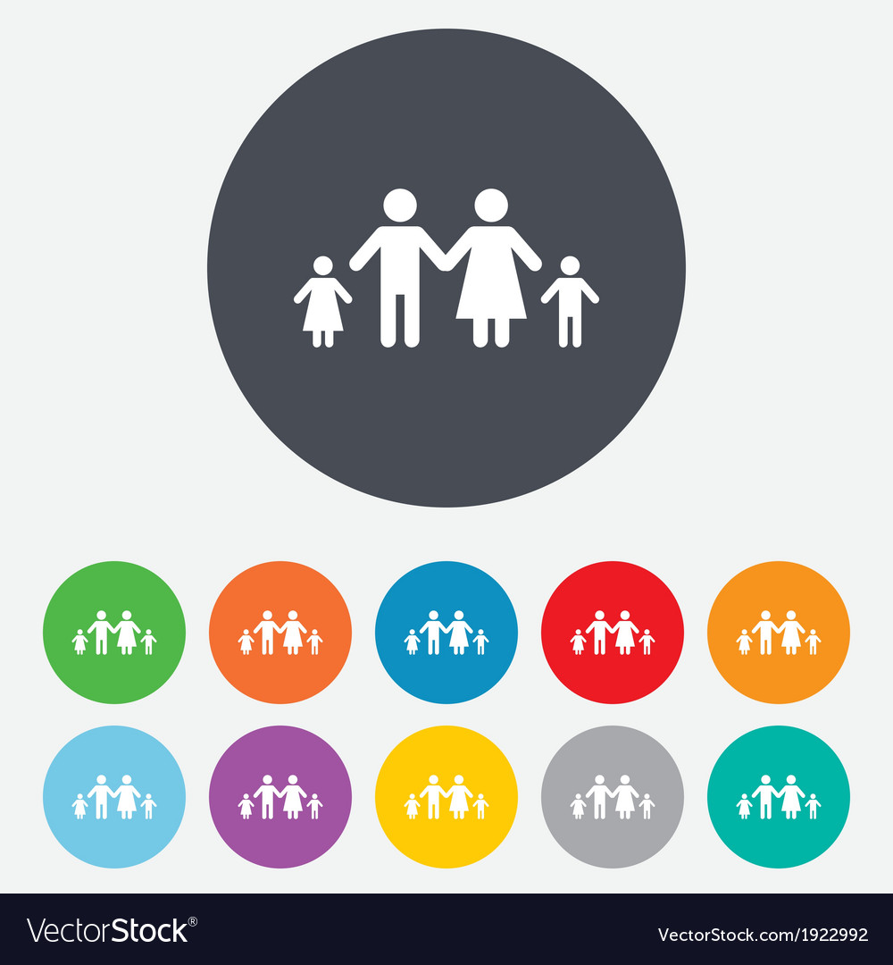 Complete family with two children sign icon vector | Price: 1 Credit (USD $1)