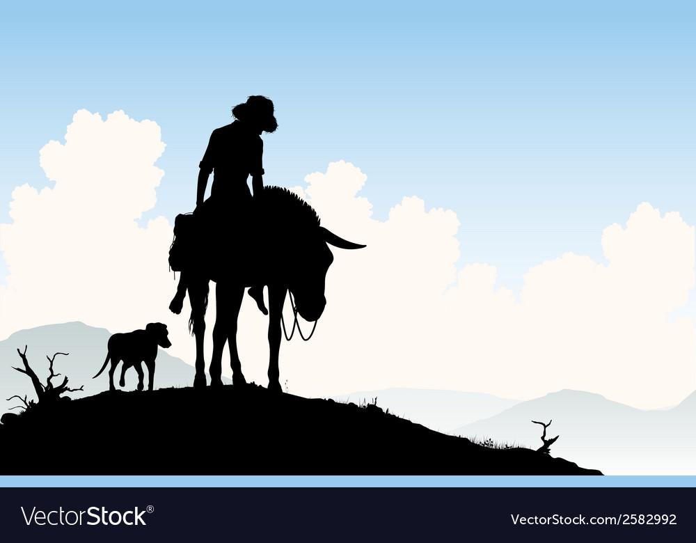 Donkey traveler vector | Price: 1 Credit (USD $1)