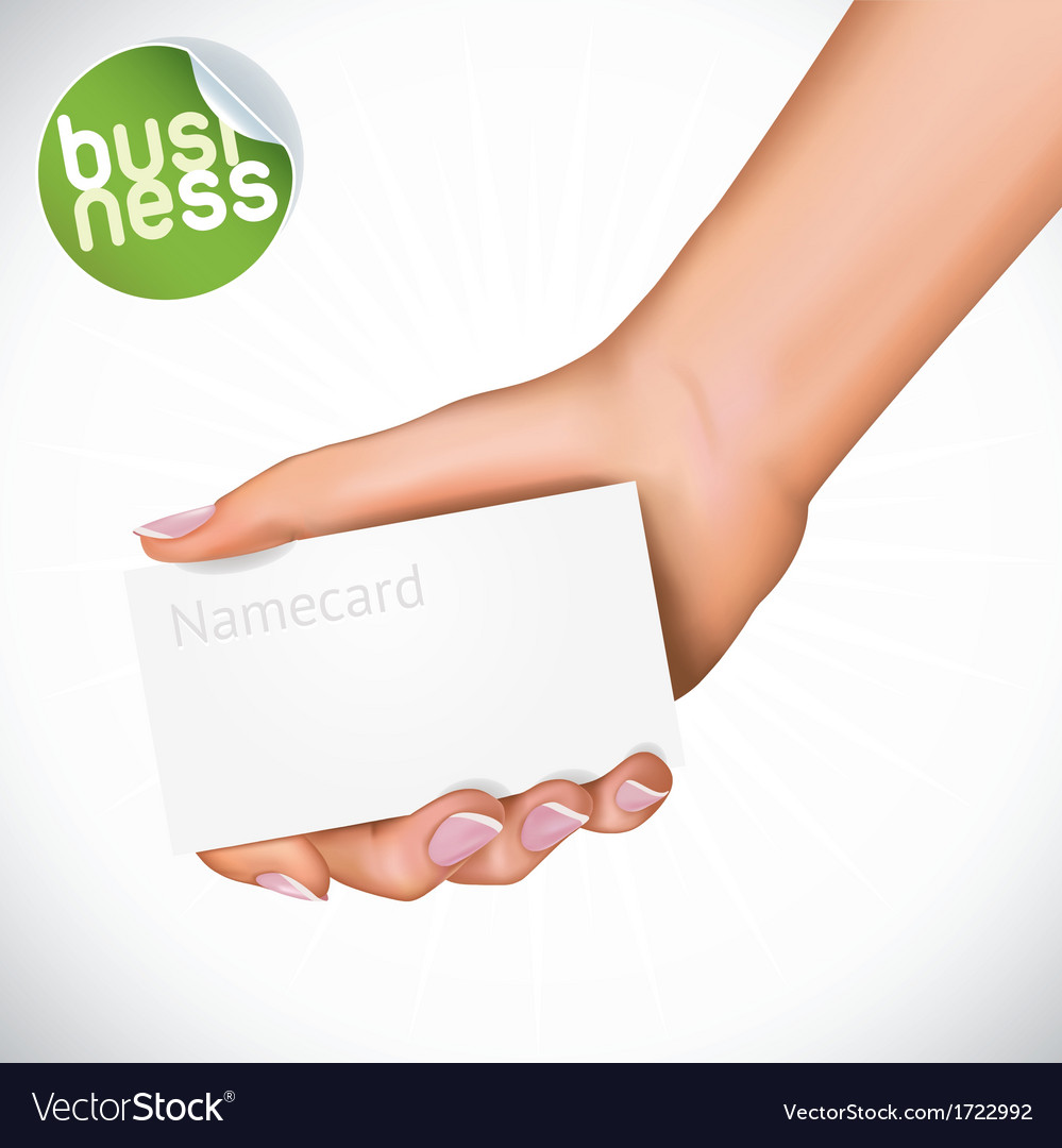Hand holding name card vector | Price: 1 Credit (USD $1)