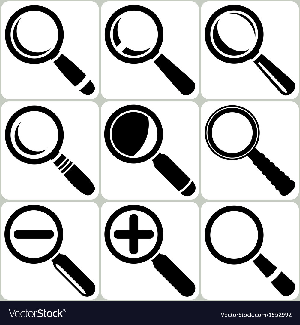 Magnifier glass search find lupe zoom icons vector | Price: 1 Credit (USD $1)