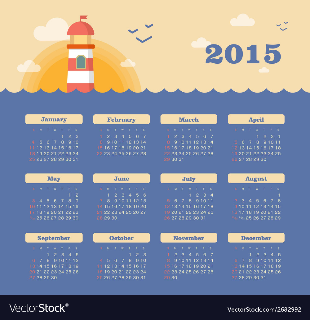 Marine calendar 2015 year with lighthouse vector   Price: 1 Credit (USD $1)