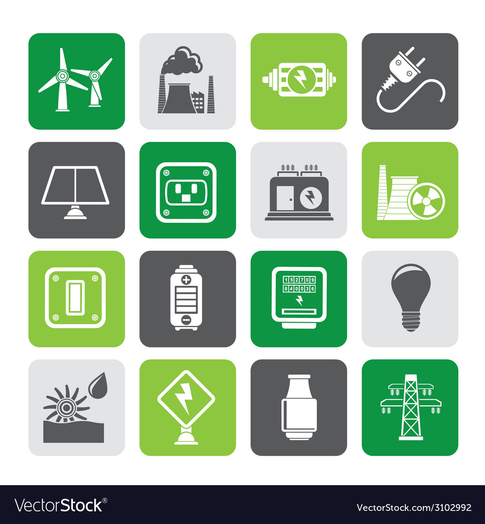 Silhouette electricity and energy icons vector | Price: 1 Credit (USD $1)