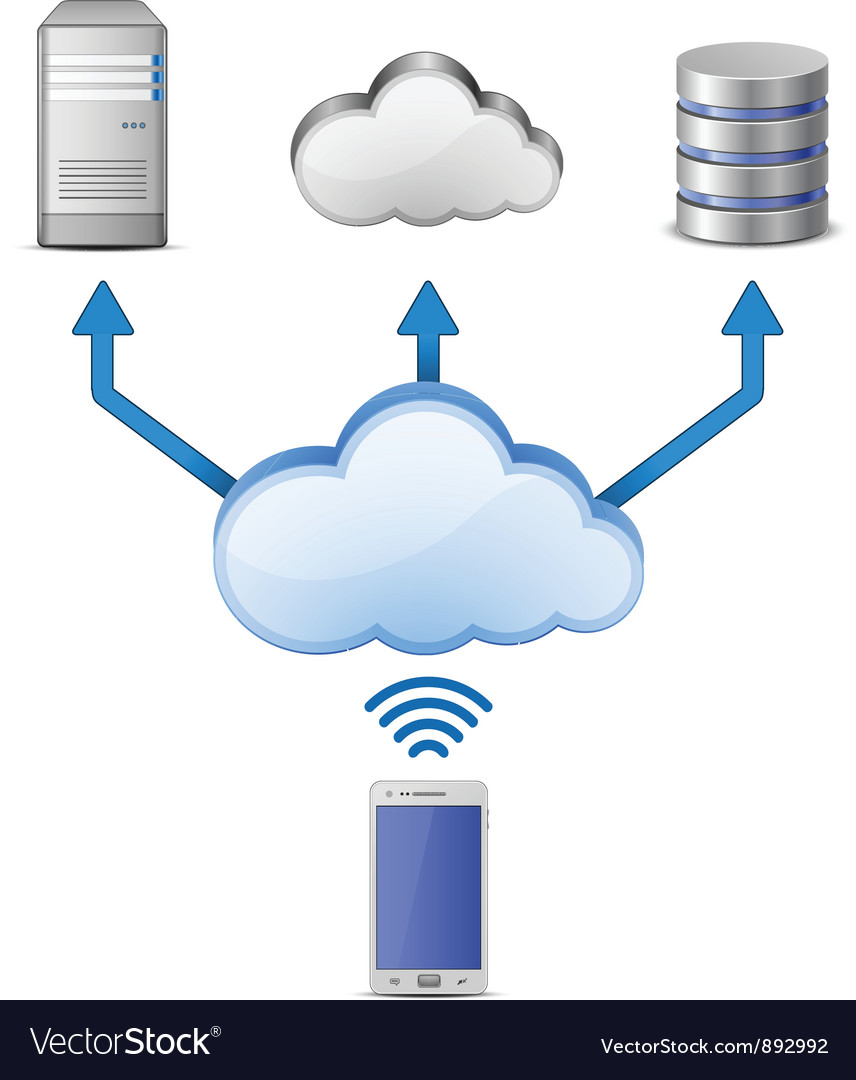 Wireless cloud computing network vector | Price: 3 Credit (USD $3)