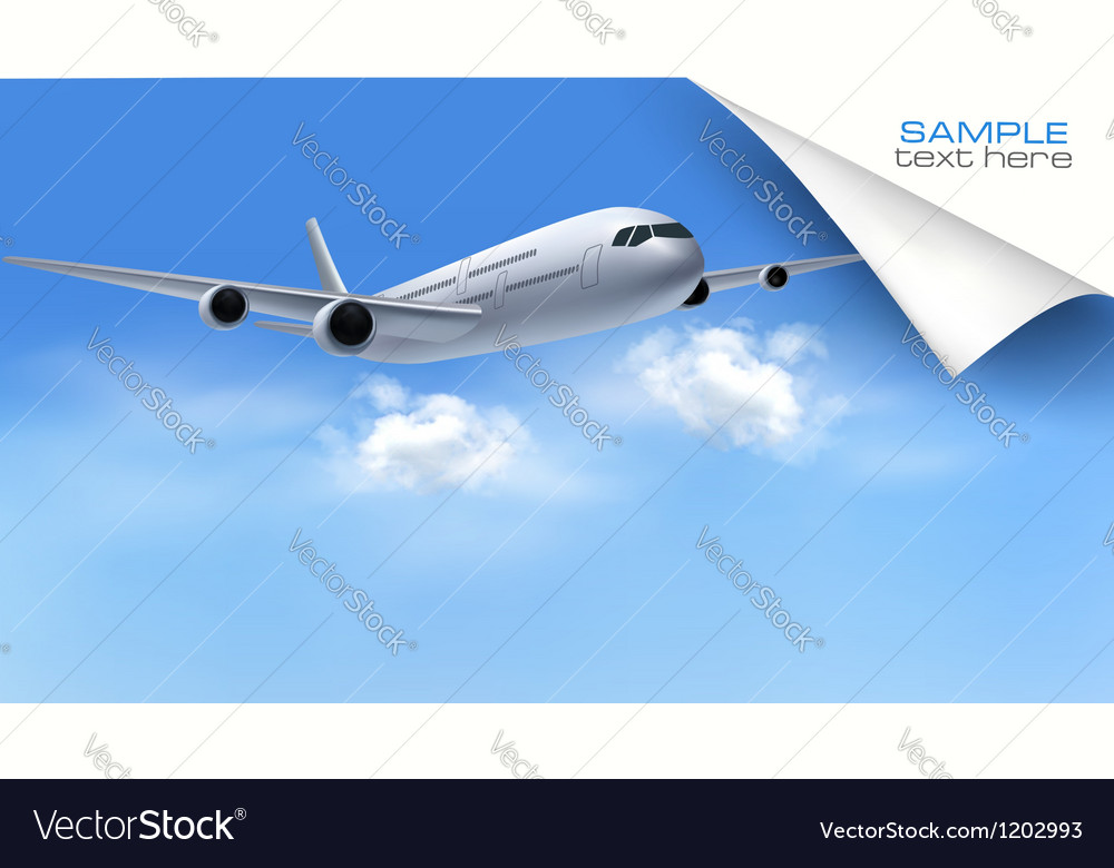 Background with airplane on blue sky travel vector   Price: 3 Credit (USD $3)