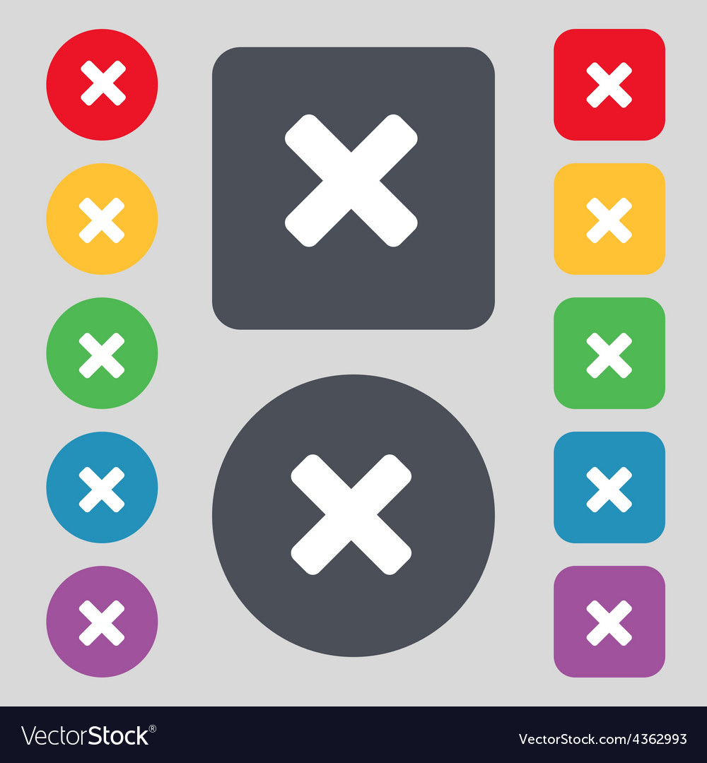 Cancel multiplication icon sign a set of 12 vector | Price: 1 Credit (USD $1)