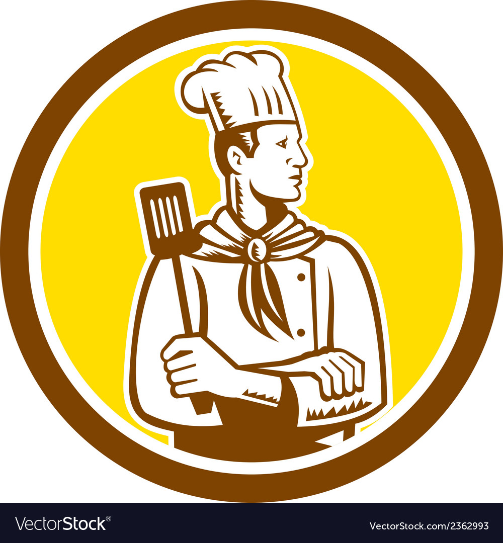 Chef cook holding spatula side view circle vector | Price: 1 Credit (USD $1)