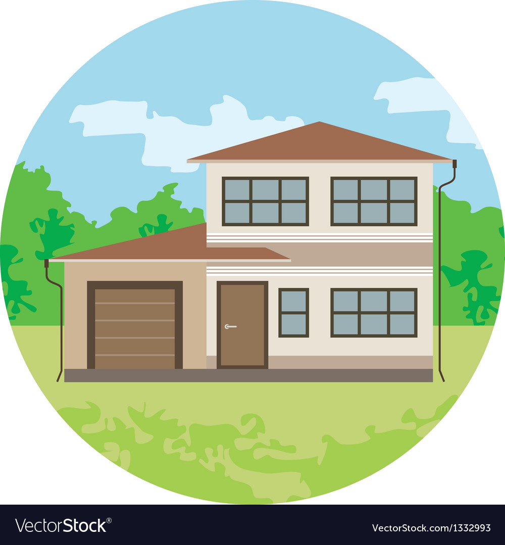 Cottage is in a circle vector | Price: 1 Credit (USD $1)