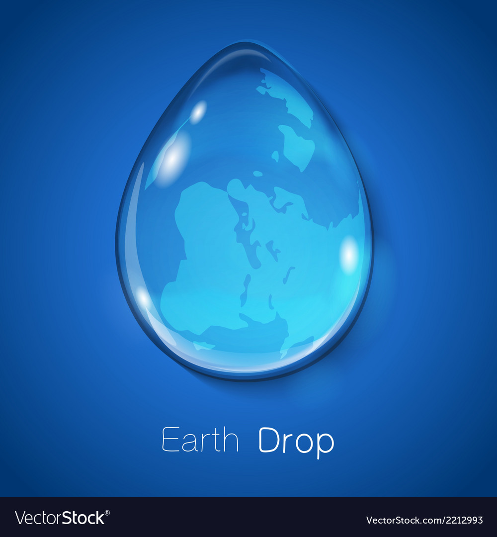 Earth within water drop on blue background vector | Price: 1 Credit (USD $1)