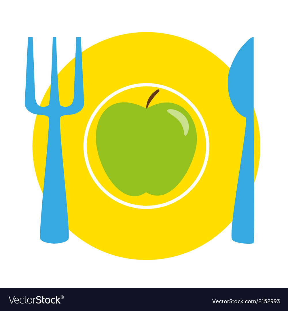 Green apple on the yellow plate with blue fork and vector | Price: 1 Credit (USD $1)