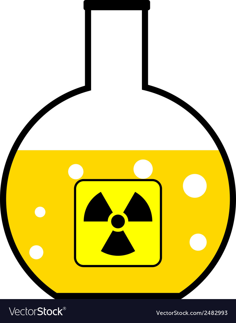 Laboratory flask with a radioactive reagent vector | Price: 1 Credit (USD $1)