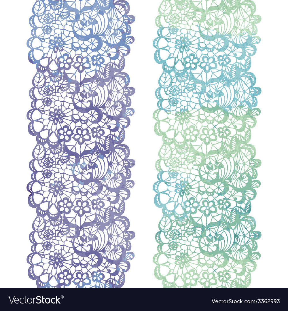 Lacy elegant watercolor border lacy vintage trim vector | Price: 1 Credit (USD $1)