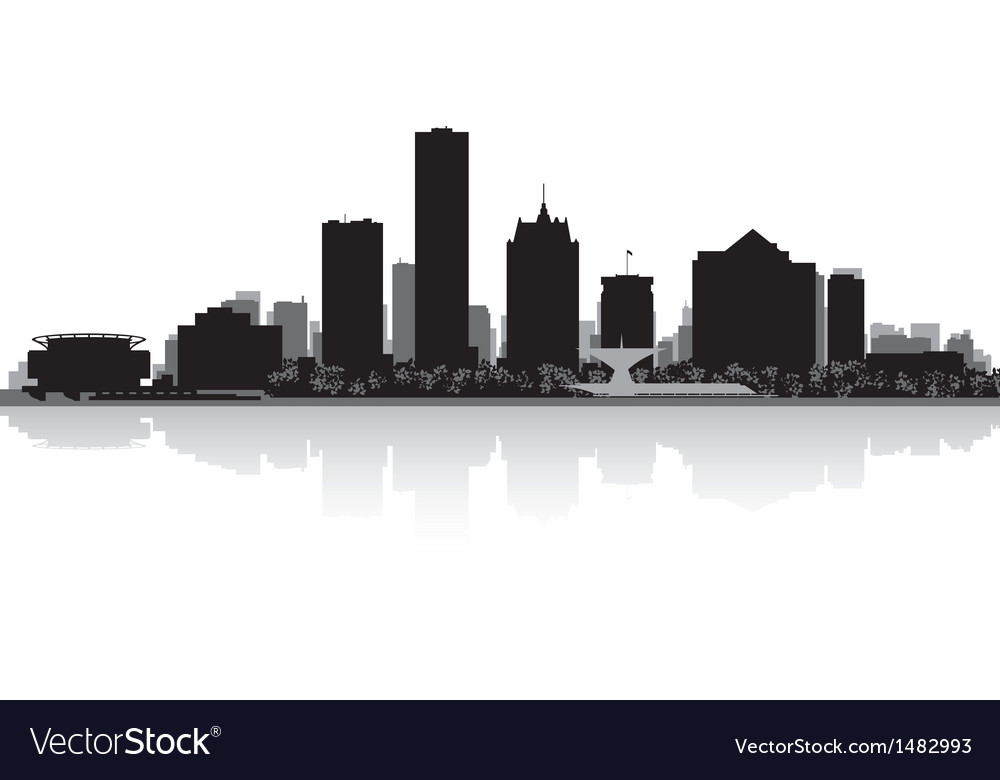 Milwaukee usa city skyline silhouette vector | Price: 1 Credit (USD $1)