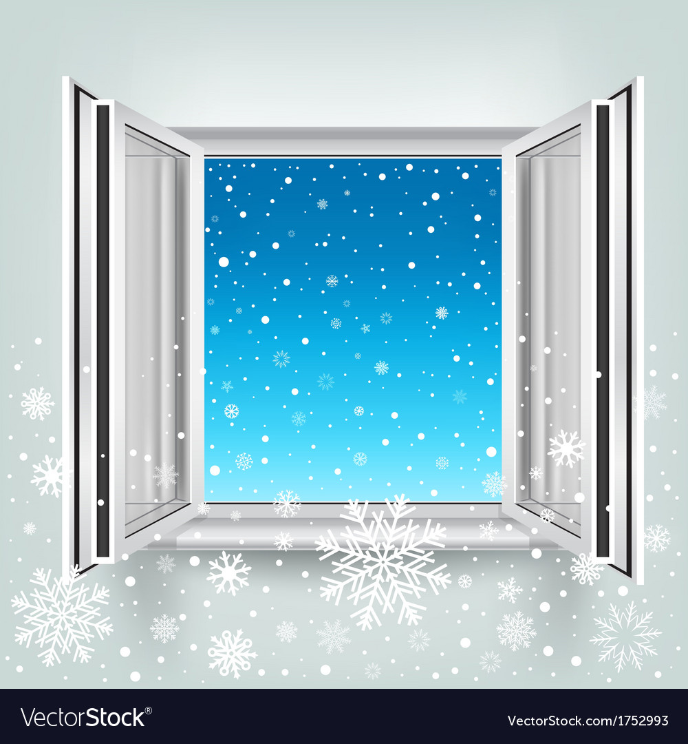 Open window and falling snow vector | Price: 1 Credit (USD $1)