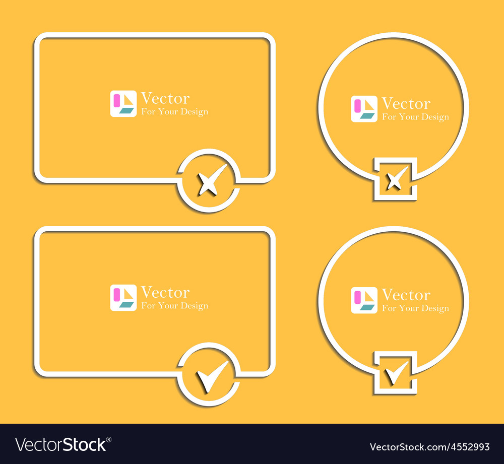 Outline banners with check marks confirmation vector | Price: 1 Credit (USD $1)