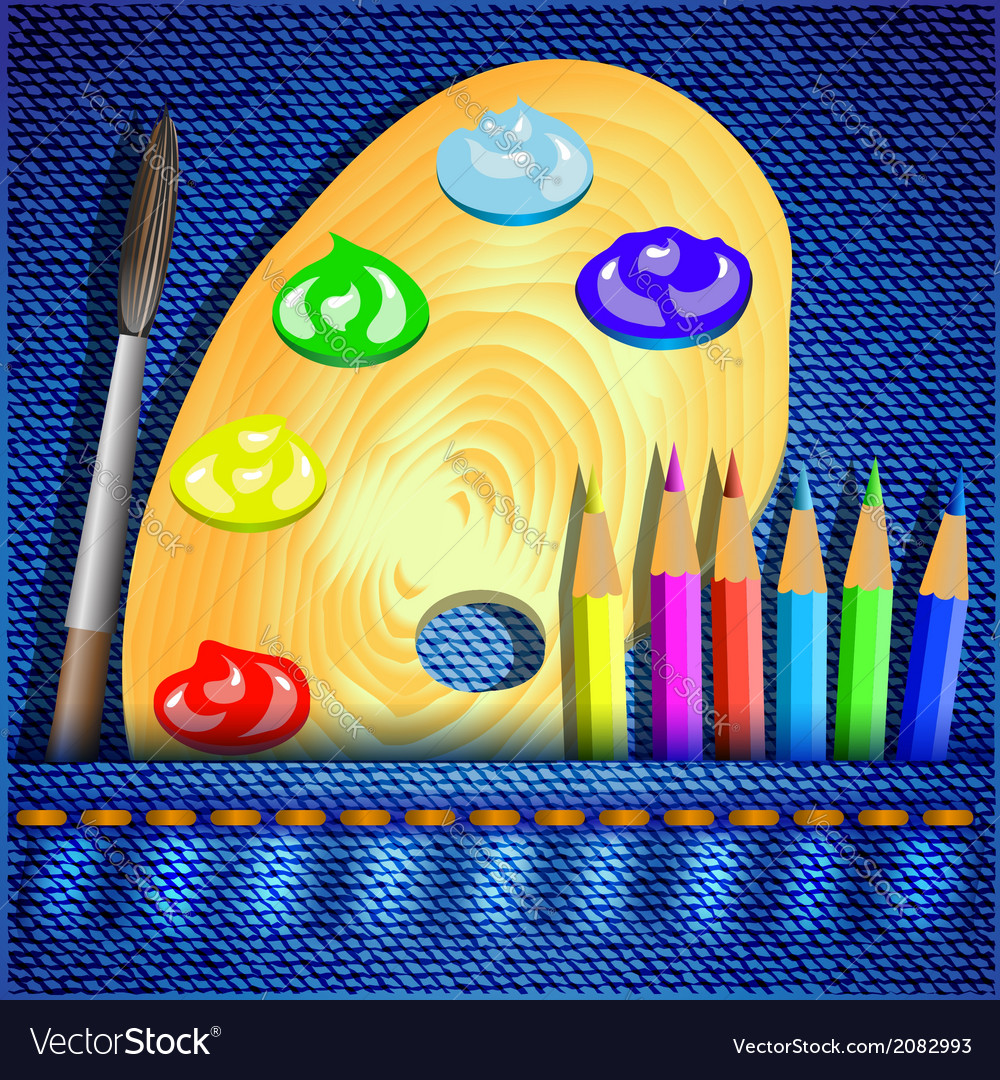 Pencils and paint brush vector | Price: 1 Credit (USD $1)