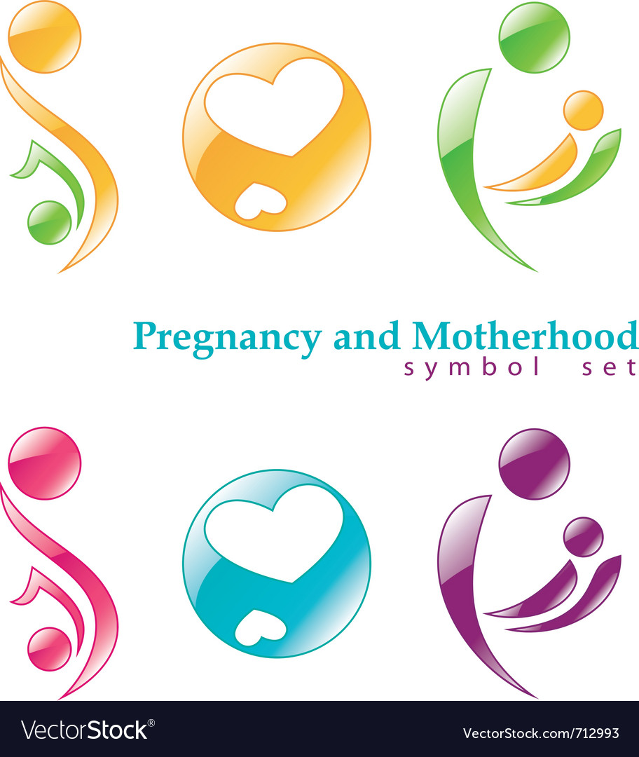 Pregnancy and motherhood symbols vector | Price: 1 Credit (USD $1)