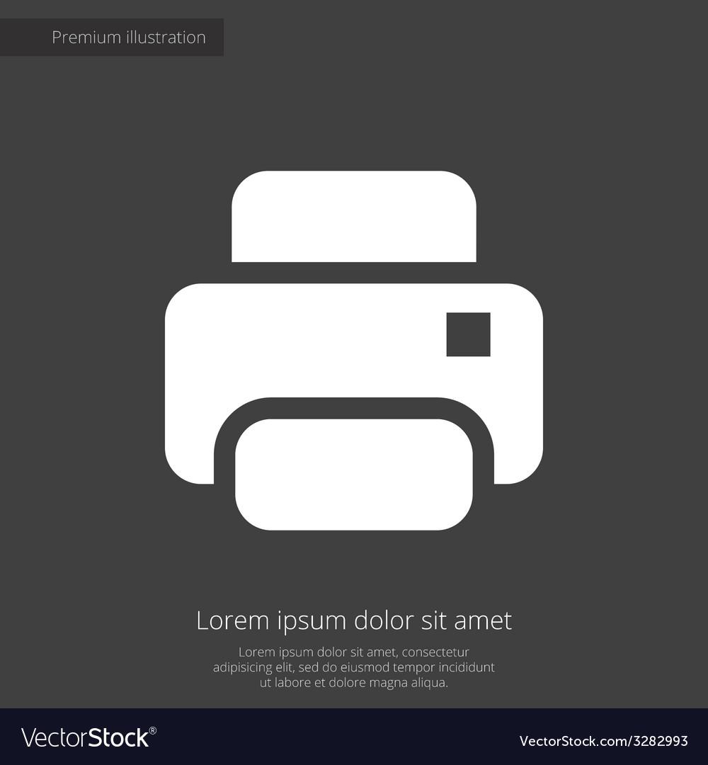 Printer premium icon white on dark background vector | Price: 1 Credit (USD $1)