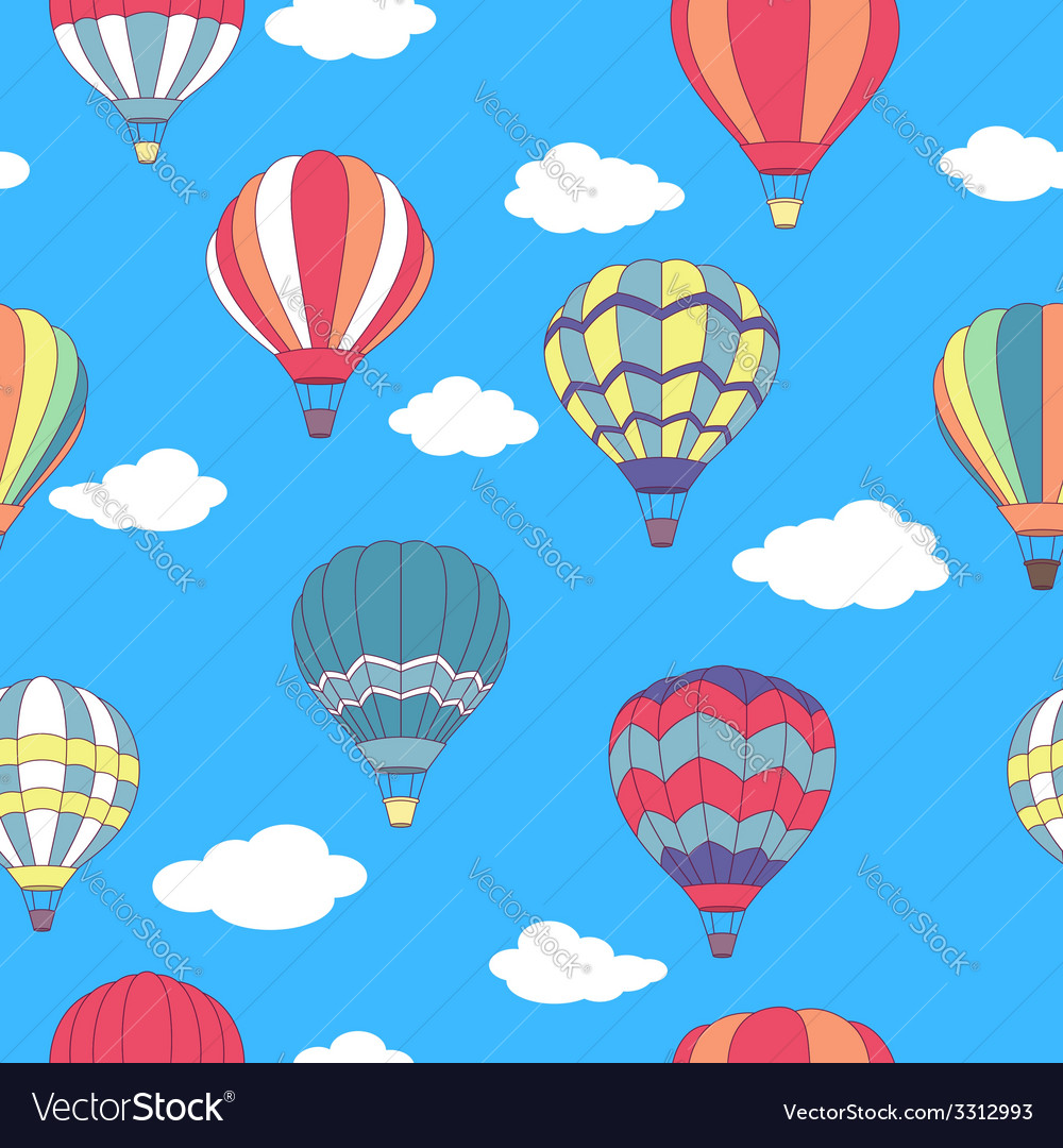 Seamless pattern of flying hot air balloons vector | Price: 1 Credit (USD $1)