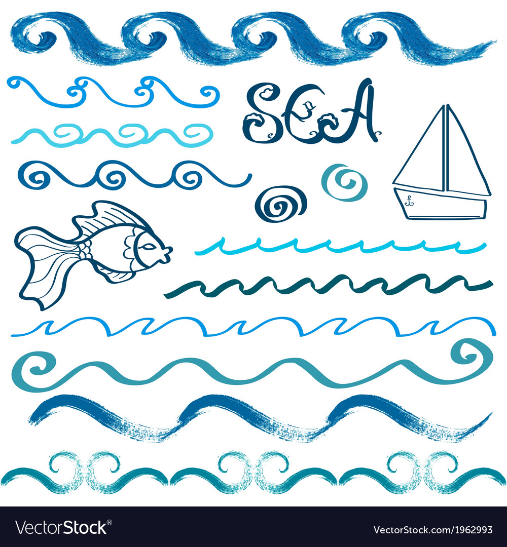 Set of hand drawn sea design elements vector | Price: 1 Credit (USD $1)