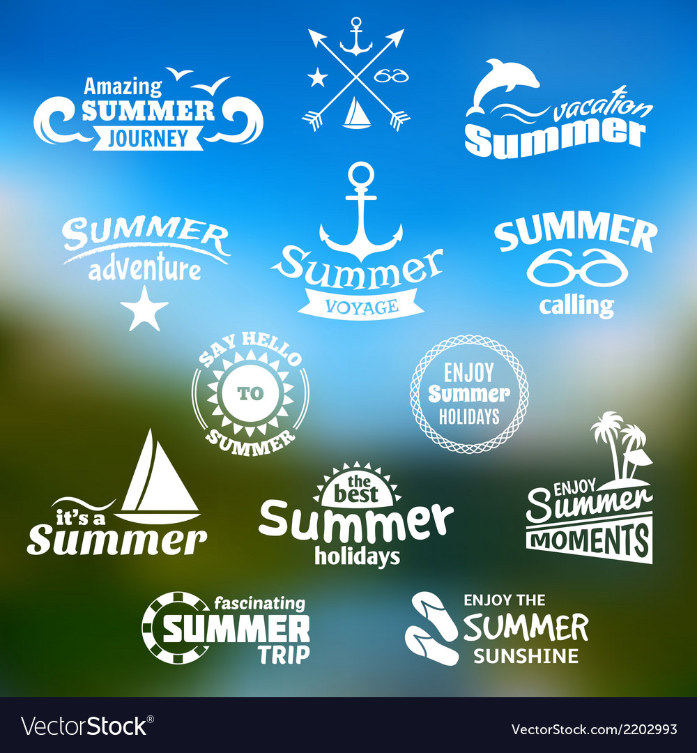 Summer element label set vector | Price: 1 Credit (USD $1)