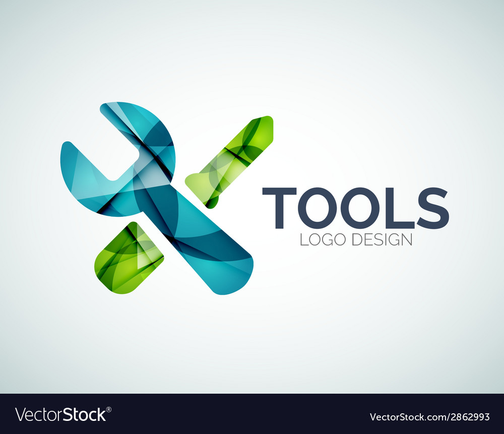 Tools icon logo design made of color pieces vector | Price: 1 Credit (USD $1)