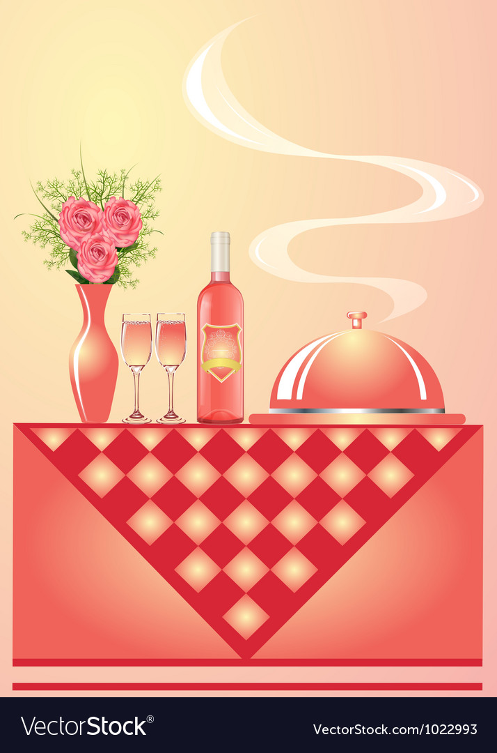 Vase with flower wine with goblet and tray vector | Price: 1 Credit (USD $1)