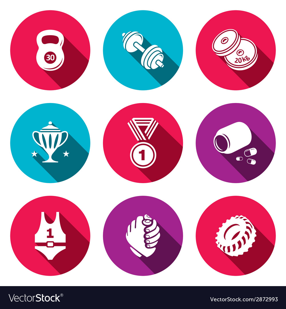 Wrestling flat icon collection vector | Price: 1 Credit (USD $1)