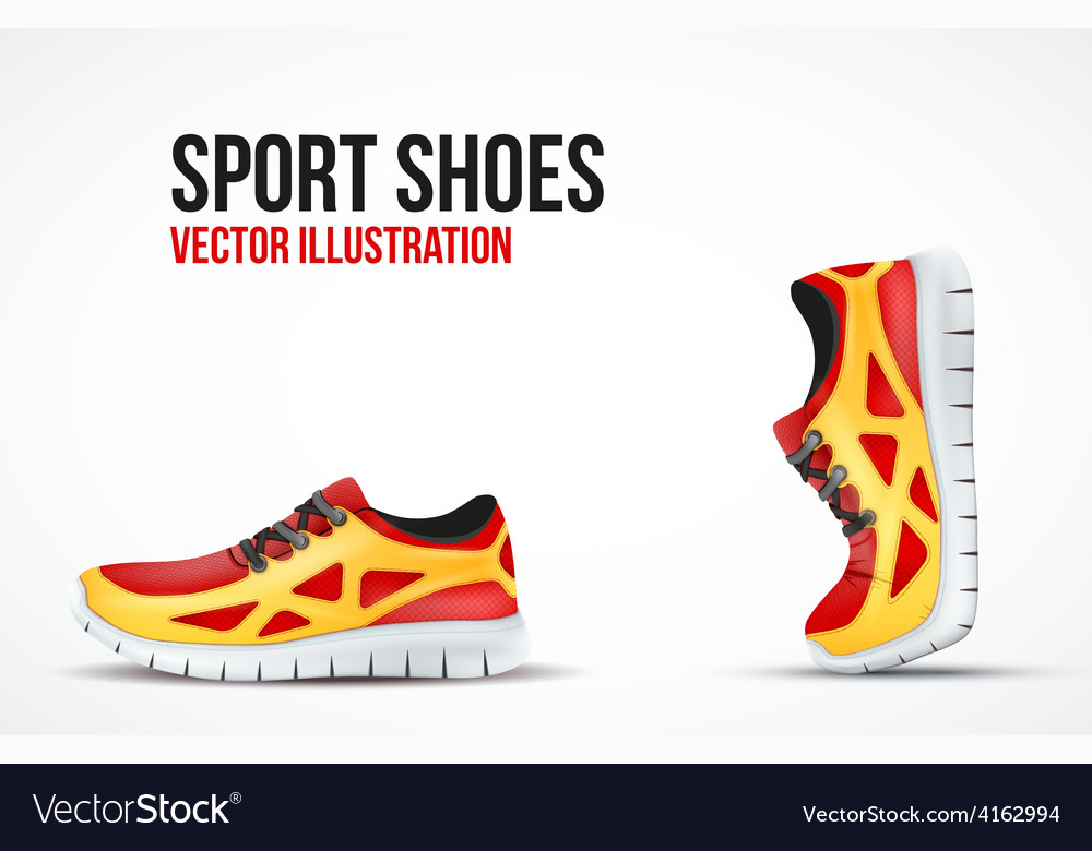 Background of two running shoes bright sport vector | Price: 3 Credit (USD $3)