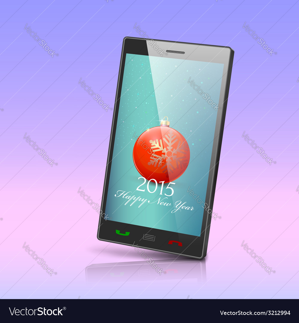 Front view of christmas phone isolated new year vector   Price: 1 Credit (USD $1)