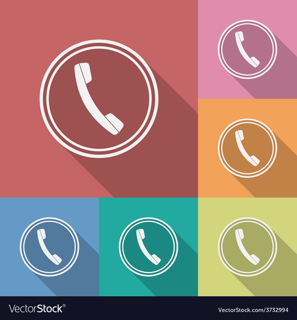 Icon of phone telephone flat style vector | Price: 1 Credit (USD $1)