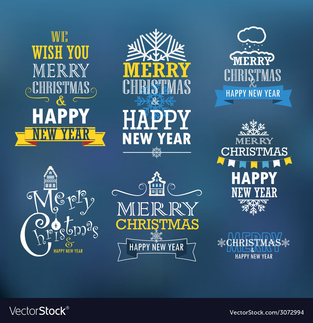 Merry christmas and a happy new year wishes vector | Price: 1 Credit (USD $1)