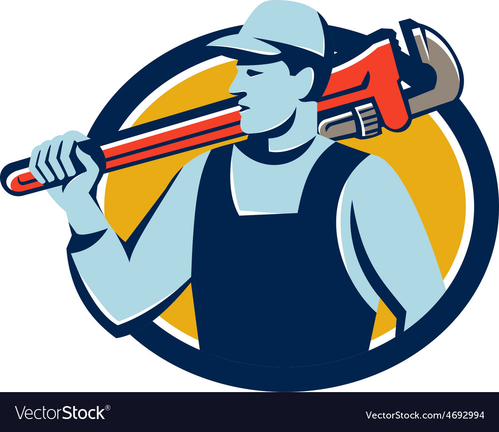 Plumber monkey wrench shoulder circle retro vector | Price: 1 Credit (USD $1)