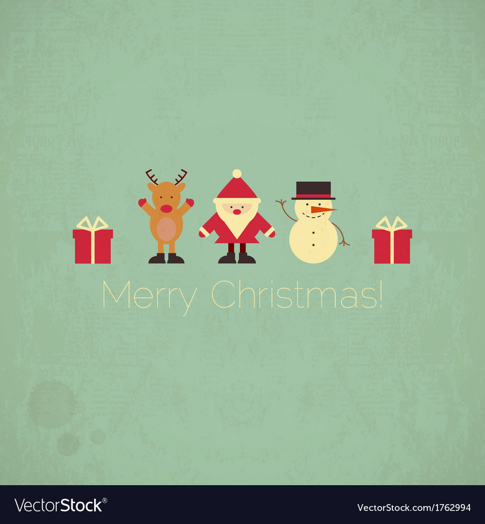 Retro merry christmas card with santa claus vector | Price: 1 Credit (USD $1)