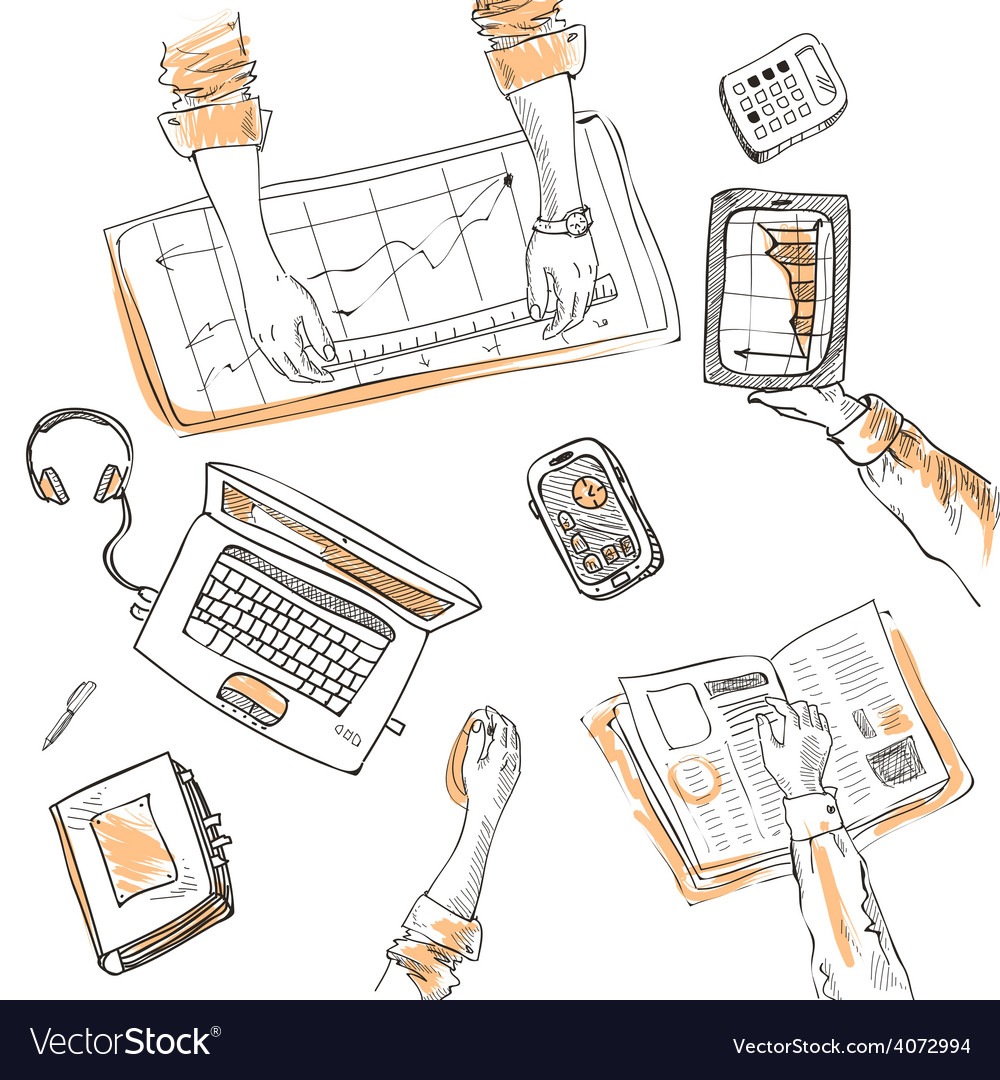 Teamwork top view people hands sketch hand drawn vector | Price: 1 Credit (USD $1)