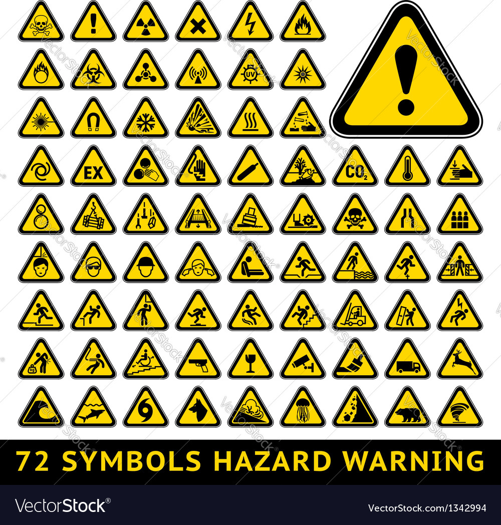 Triangular warning hazard symbols big yellow set vector | Price: 1 Credit (USD $1)