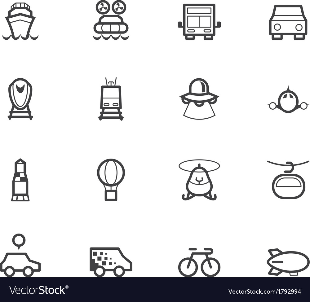 Vehicle black icon set on white background vector | Price: 1 Credit (USD $1)